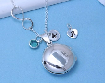 Sterling Silver Locket, Locket and Infinity, Personalized Charms Initial stone, Large Round Locket Jewelry. Silver Locket Jewelry, R-3