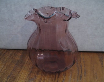 Vintage Violet Ruffled Glass Vase