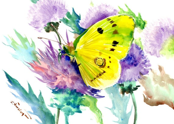Yellow Butterfly and Thistle Flowers Floral art Butterfly
