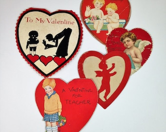 Collection of Five Vintage Valentine Cards from the 1930s