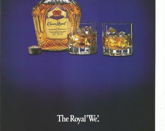 1991 Advertisement Seagrams Crown Royal Whisky We Glasses Blue 90s On The Rocks Gold Restaurant Hotel Pub Decor Wall Art