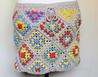 PDF, crochet pattern, Patch-Work Skirt, granny square, Retro