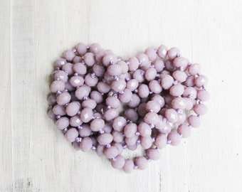 purple necklaces, rondelle necklaces, hand knotted, 45 inches necklace, endless necklace,  8mm × 6mm, add your own pendant,