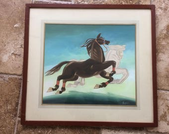 "KUPUR ""The Flying Horse of Gansu"" Large Gouache Watercolor - Rich Colors"