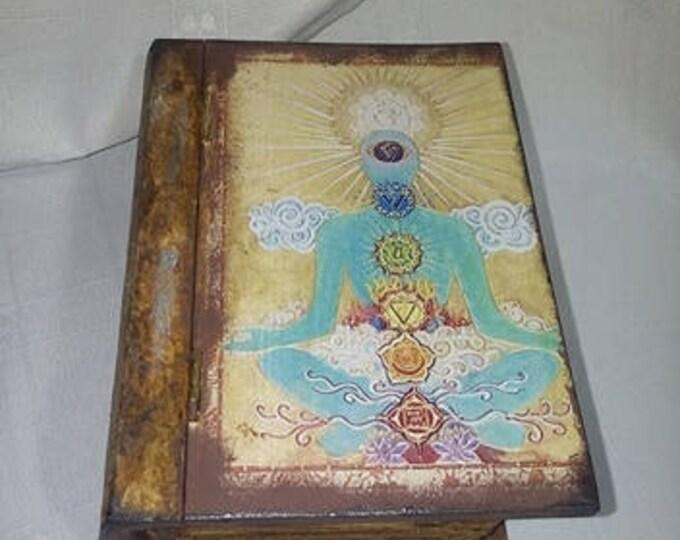 Meditation And Healing Box ,reiki box,decoupage healing box,chakra box,crystal box