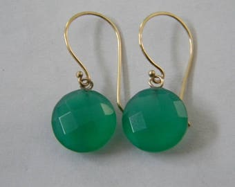 Beautiful 14k solid yellow gold with Emerald Green Chalcedony stone earrings