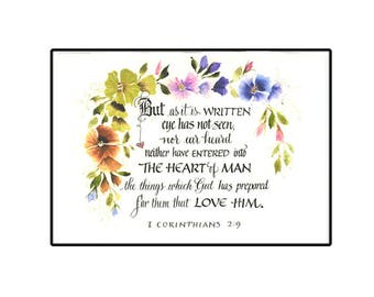 Christian Greeting Card, Scripture Card in Calligraphy, Inspirational card