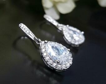 Crystal Wedding Earrings, Bridesmaid Gift Earrings, Crystal Teardrop Earrings, Nickel Free Ear Wires, Bridesmaid Gift
