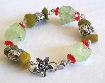 Prehnite Chrysoprase Sterling Silver Butterfly Australian Rainforest Bracelet