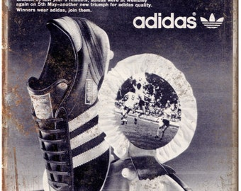 """Adidas Vintage Soccer Cleat Ad 10"""" X 7"""" Reproduction Metal Sign ZE40"""