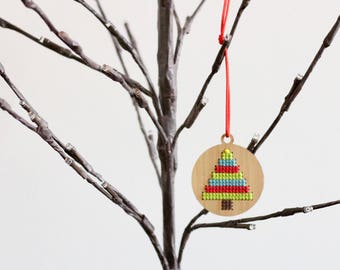 Bamboo Wood Cross Stitch Ornament DIY Kit*Tree Stripe Ornament *Modern Christmas Embroidery Ornament