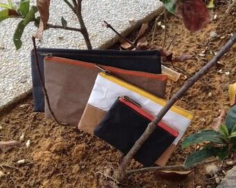 Travel Pouch : Tyvek and Kraft paper travel pouch/pencil bag/zipper pouch/pencil case/pencil holder/travel wallet/YKK zipper