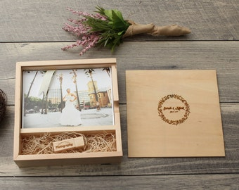 "5x7"" Maple Wood  Photo Print Proof Box- Custom Engraving Included, USB Optional"