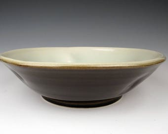 large porcelain bowl with Tenmoku and Celadon glaze