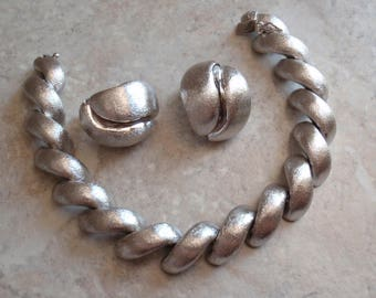 Brushed Sterling Jewelry Set Link Bracelet Clip On Earrings Made in Brazil Vintage 030814PO