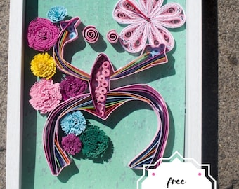 """Quilled Paper Art """"El Coqui Taino""""/ Taino Symbols/ Puerto Rican Art / Coqui Art/ Quilling/ Boricua Art/ Puerto Rican Decor/ Borninken/PR Art"""