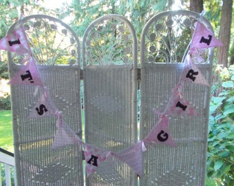 IT'S A GIRL fabric banner, fabric bunting, baby shower,gender reveal
