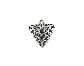x 2 silver carved triangle pendants antique 19x17mm (90 d)