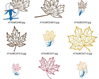 Falling-Leaves. ( 20 Machine Embroidery Designs from ATW )