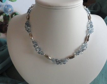 Blue Mystic Quartz beaded necklace  -  204