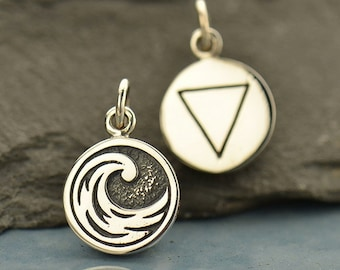 Four Elements Charms - Sterling Silver round disc charms - Earth Water Air Fire - double sided with symbol - one charm- mountain- wave