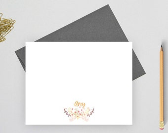 Personalized stationery set,  flower stationery, personalized stationary set,  personalized note card set, flat note card, Amyw