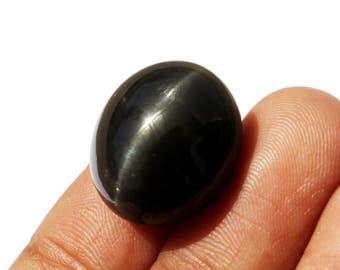 23cts Natural Black Scapolite Cat's Eye Oval Cabochon 17 x 15m Single Ray Black Cat's Eye Scapolite Loose Gemstone SL02