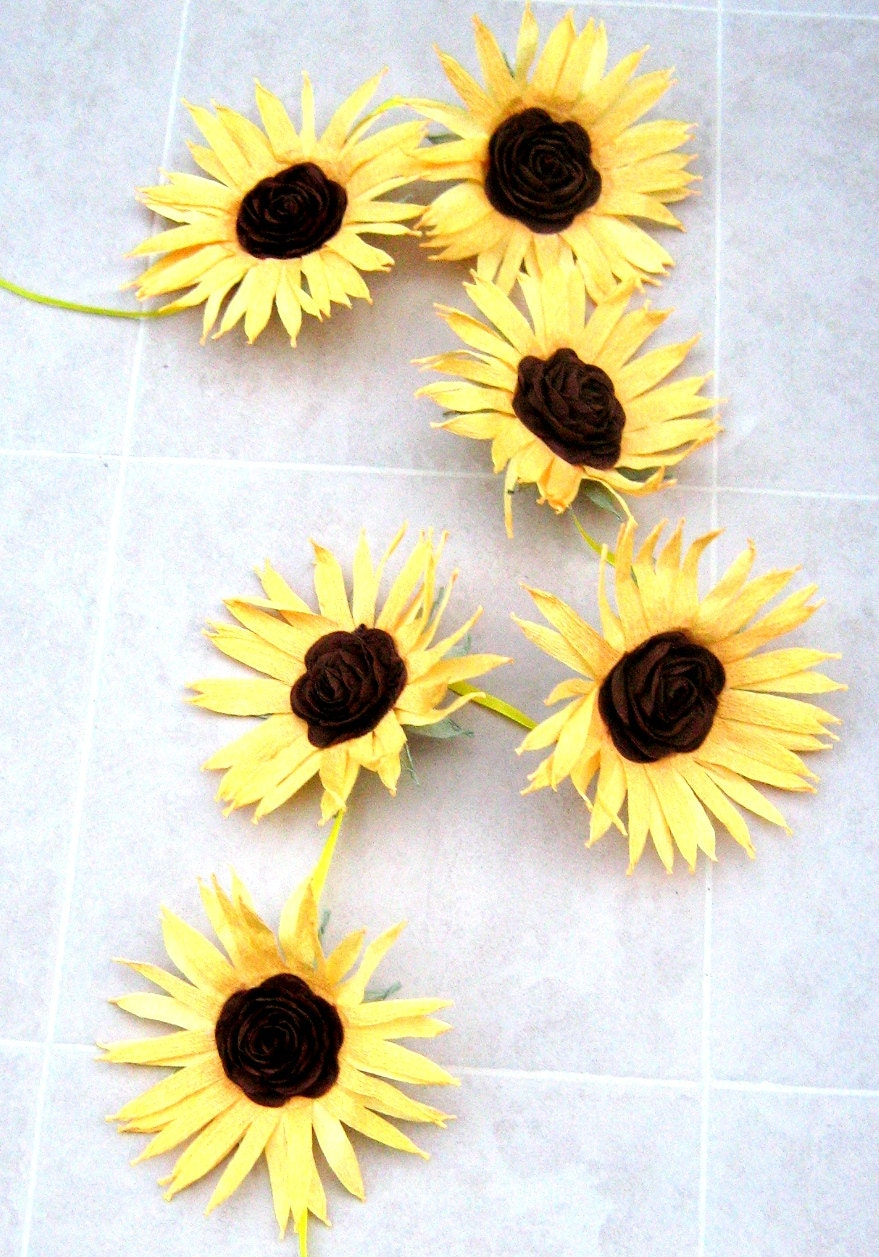 Sunflower garland giant paper Flowers Wall Garland Rustic
