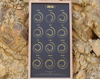 2018 Large Moon Calendar in Gold on Black - Silkscreen Print