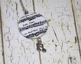 Music pendant necklace, black and white pendant, music, music notes necklace pendant, black and white musical notes