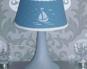 Grey & blue pattern Lampshade lamp ships