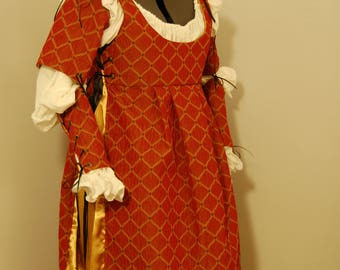 Italian Renaissance gown, red and gold outfit - dress and chemise set - ready to ship