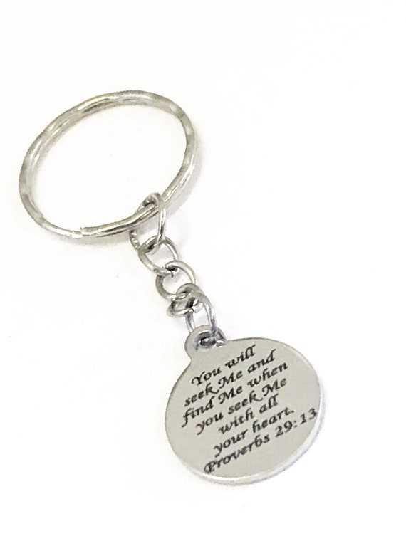 Christian Gifts, Christian Keychain, Seek God And Find God, Proverbs 29 13 Scripture, Bible Verse Gifts, Baptism Gifts, Christian Charm