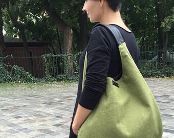 hobo bag, tote bag, personalized bag, customizable bag, XL handbag, green canvas bag, olive shoulder bag, boho bag, diaper bag, shopping bag
