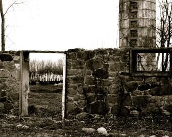 black and white photo-garden-stone wall-rural - 8x10 B&W Photograph