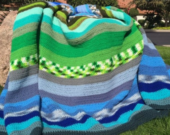 "Curved, Striped Crocheted Afghan - 112"" x 48"""