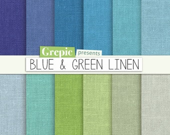 """Blue green linen digital paper: """"BLUE & GREEN LINEN"""" with blue / green / teal / lime / gray / turquoise boys linen backgrounds / textures"""