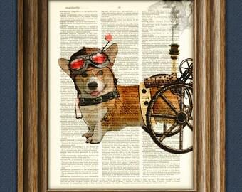 Admiral Wheels the Steampunk Corgi dog illustration beautifully upcycled dictionary page book art print