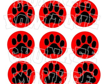 Black paw print with red background bottlecap image sheet pawprint