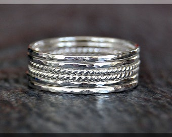 Set of 6 Ultra Thin Hammered Twist Sterling Silver Stacking Rings, Dainty Sterling Ring, Tiny Sterling Stacking Ring, Thin Stacking ring