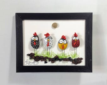 Pebble and mixed medium art - 444