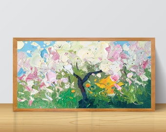 Tree Painting Flowers Spring Original Oil On Canvas Home Decor Small Bedroom Decorating Ideas Gifts Wife