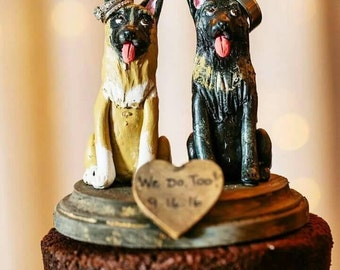 German Shepherd wedding cake Topper made from pics of your dog , can make any Breed!  Custom made for you can be personalized