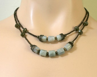 Aqua Blue and Fern Green Antiqued Brass Two Strand BOHO Style Necklace