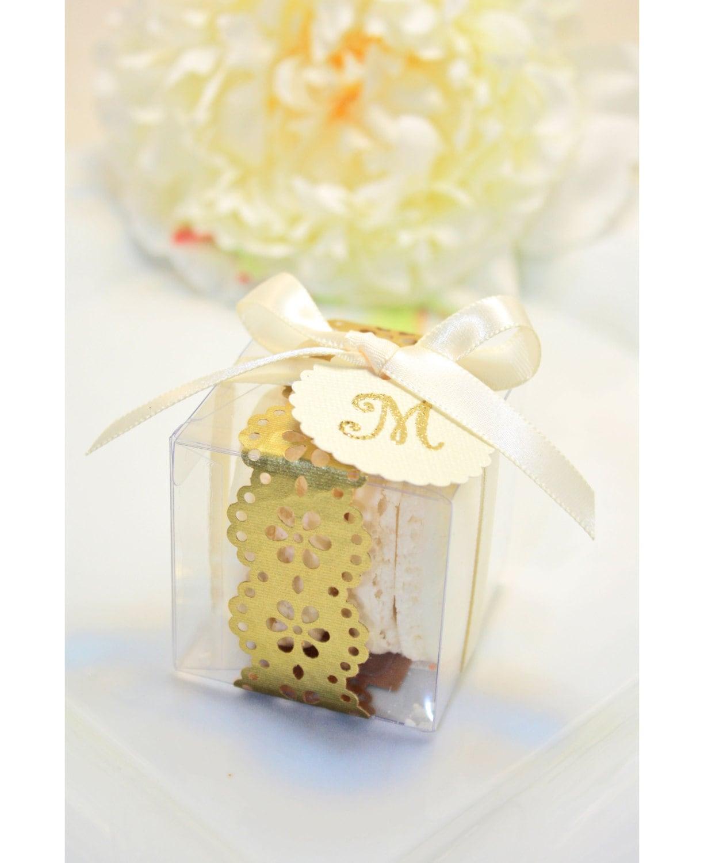 Golden Favor boxes Golden Macaron Box 30 Gold Favor Boxes