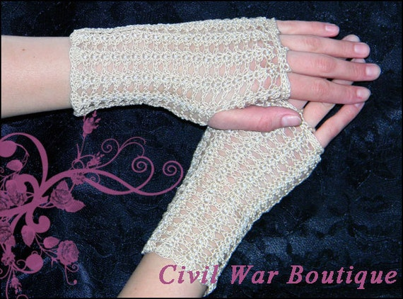 Vintage Style Gloves- Long, Wrist, Evening, Day, Leather, Lace 1800s Civil War Victorian Beige Cream Handmade gloves PEARLS Size S/M 100% cotton NEW1800s Civil War Victorian Beige Cream Handmade gloves PEARLS Size S/M 100% cotton NEW  AT vintagedancer.com