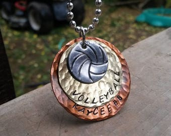 Volleyball or other sports Necklace Customizeable Hand Stamped & Hammered Mixed Metal
