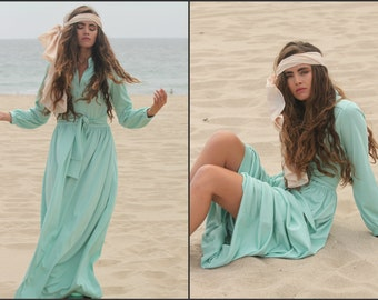 Vintage 70s Grecian Godess Maxi Long Dress Gypsy XS S M