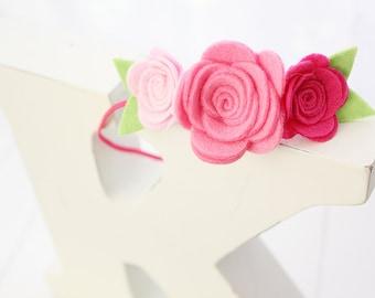 Felt flower headband- Pink flower headband -Felt Roses- Baby girl headband-Girl headband -Hair accessory -Toddler headband- Baby shower gift