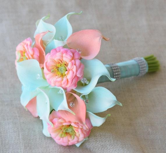 Silk flower wedding bouquet aqua mint and coral peach calla mightylinksfo Images